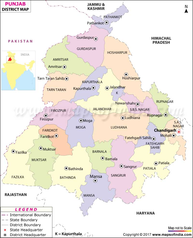 Punjab district map